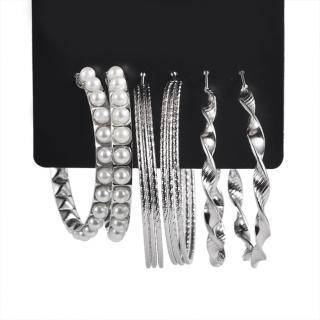 【RJ New York】歐美大圈圈珍珠纏綿耳環超值套組(3組入2色可選)強力推薦  RJ New York