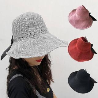 【幸福揚邑】蝴蝶結空頂可捲收防曬抗UV大帽檐遮陽帽(灰、粉、磚紅、黑)  幸福揚邑