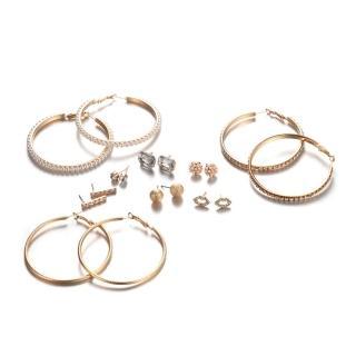 【RJ New York】歐美圈圈水鑽金繽耳環超值套組(9組入2色可選) 推薦  RJ New York
