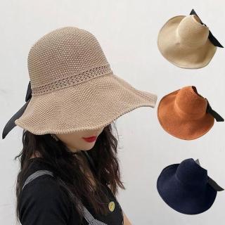 【幸福揚邑】蝴蝶結空頂可捲收防曬抗UV大帽檐遮陽帽(卡其、米、焦糖、藍) 推薦  幸福揚邑