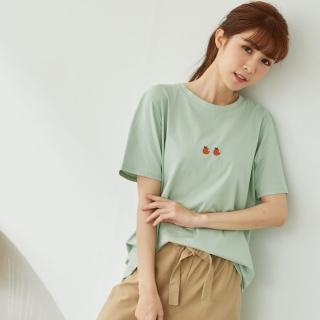 【*KatieQ 慢。生活】橘子刺繡寬版短T-F(白/綠)好評推薦  *KatieQ 慢。生活
