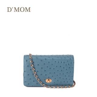 【DMOM】迷你方型駝鳥肩背包(霧灰藍) 推薦  DMOM