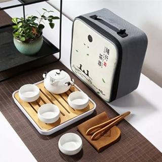 【原藝坊】陶瓷乾泡旅行茶具套裝組(兩色任選)好評推薦  原藝坊