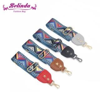 【Belinda】民族風三角圖騰寬版肩背斜背帶(4色)好評推薦  Belinda