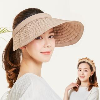 【幸福揚邑】防曬抗UV髮圈大帽檐顯瘦可折疊空頂遮陽帽(卡)  幸福揚邑