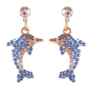【RJ New York】海洋傳說閃閃水鑽海豚耳環項鍊(2款可選)  RJ New York