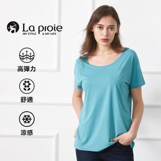 【La proie 萊博瑞】女式彈力大圓領透氣T恤(兩色-背後透氣大圓領寬鬆韓版T)強力推薦  La proie 萊博瑞