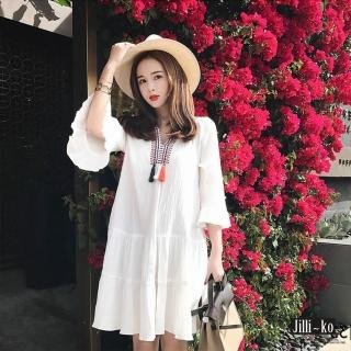 【Jilli-ko】民族風刺繡流蘇連身裙-F(白) 推薦  Jilli-ko