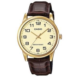 【CASIO 卡西歐】經典商務型男數字指針真皮腕錶-數字金面(MTP-V001GL-9B)  CASIO 卡西歐