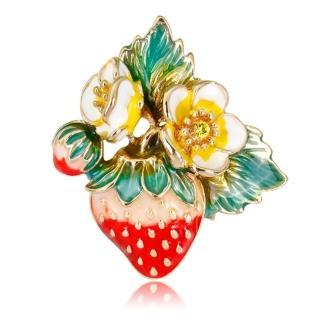 【RJ New York】甜美花園草莓水果胸針別針2用(彩色) 推薦  RJ New York