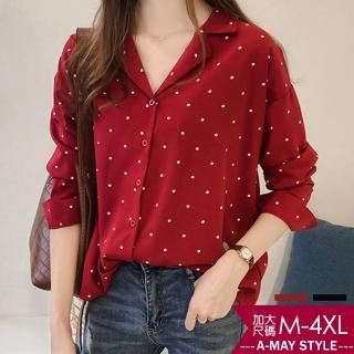【Amay Style 艾美時尚】俏皮點點雪紡襯衫。加大碼M-4XL(2色.預購)  Amay Style 艾美時尚