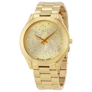 【Michael Kors】個性鋯石MK大LOGO不鏽鋼錶帶女腕錶(MK3590)推薦折扣  Michael Kors