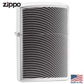 【Zippo】美系 波紋雕花-拉絲鍍鉻防風打火機#29913強力推薦  Zippo