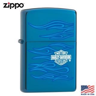 【Zippo】美系 藍寶石哈雷之魂-雷雕冰面藍防風打火機#20711推薦折扣  Zippo