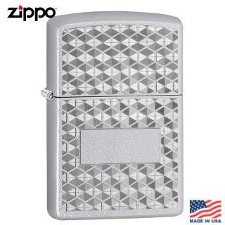 【Zippo】美系 格紋雕花-緞面鍍鉻防防風打火機#29911 推薦  Zippo