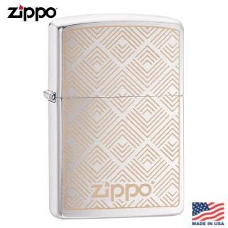 【Zippo】美系 箭紋幾何-雷雕拉絲鍍鉻防風打火機#29921強力推薦  Zippo