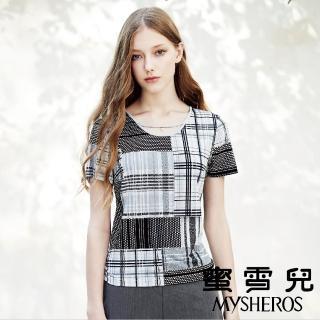 【mysheros 蜜雪兒】黑白拼接條格紋珍珠上衣(灰)  mysheros 蜜雪兒