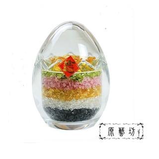 【原藝坊】五行碎石 元寶七星陣 - 水晶彩蛋聚寶盆(約 10*6cm)好評推薦  原藝坊