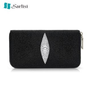 【Sarlisi】經典珍珠魚皮長夾真皮錢包中長款錢夾折扣推薦  Sarlisi