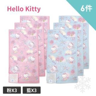 【SANRIO 三麗鷗】Hello Kitty 涼感運動巾6件組(粉*3+藍*3)  SANRIO 三麗鷗