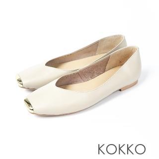 【KOKKO集團】漫步澄花大道金屬真皮方頭鞋(王妃米)  KOKKO集團