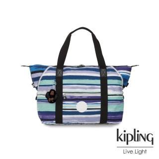 【KIPLING】蔚藍海岸線條塗鴉手提側背包-ART M  KIPLING
