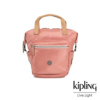 【KIPLING】城市探索玫瑰粉雙側插扣手提後背兩用包-TSUKI S-EDGELAND系列  KIPLING