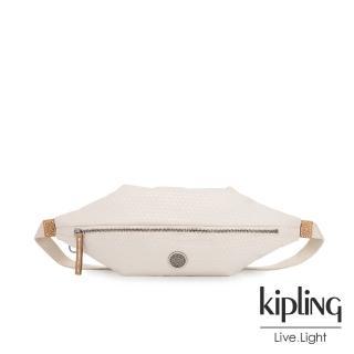 【KIPLING】低調米白菱格紋六角腰包-YOKU-EDGELAND系列  KIPLING