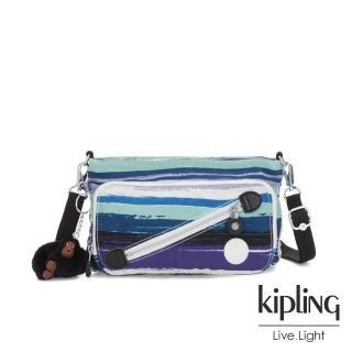 【KIPLING】蔚藍海岸線條塗鴉斜拉鍊肩背包-MILOS 推薦  KIPLING