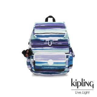 【KIPLING】蔚藍海岸線條塗鴉拉鍊掀蓋後背包-CITY PACK S優惠推薦  KIPLING