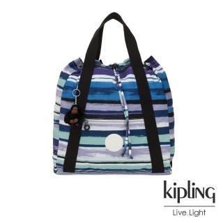 【KIPLING】蔚藍海岸線條塗鴉側背後背包-大-ART BACKPACK M  KIPLING