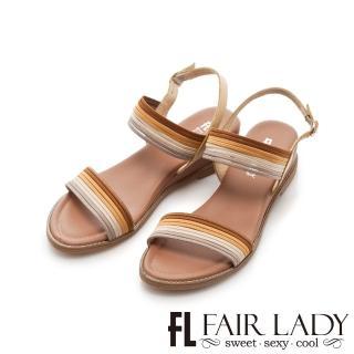 【FAIR LADY】撞色細條鬆緊帶楔型涼鞋(駝、102134)折扣推薦  FAIR LADY