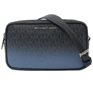 【Michael Kors】滿版MK雙層相機包/手拿包/斜背包(深藍)  Michael Kors