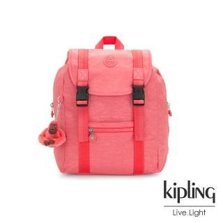 【KIPLING】甜美蜜桃橘素面雙扣掀蓋後背包-AICIL  KIPLING