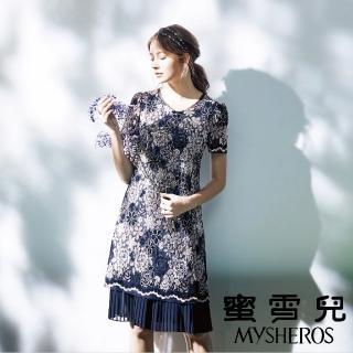 【mysheros 蜜雪兒】復古蕾絲緹花拼接褶裙洋裝(藍)評價推薦  mysheros 蜜雪兒