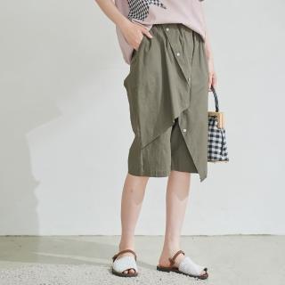 【*KatieQ 慢。生活】設計師交叉擋布寬口褲-F(灰格/綠)好評推薦  *KatieQ 慢。生活