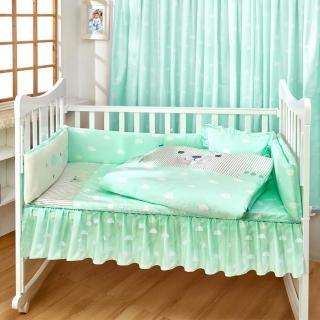 【麗嬰房】les enphants 雲朵熊防蹣 二用被寢具六件組(湖水綠/櫻花粉)  麗嬰房