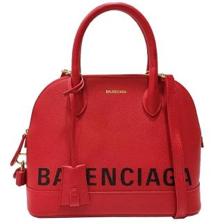 【Balenciaga 巴黎世家】Balenciaga 印字ALMA包(紅色 518873.6513)  Balenciaga 巴黎世家