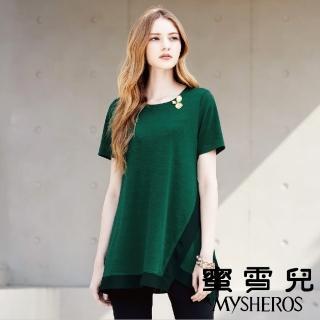 【mysheros 蜜雪兒】圓領鑲鑽花長版上衣(綠)  mysheros 蜜雪兒