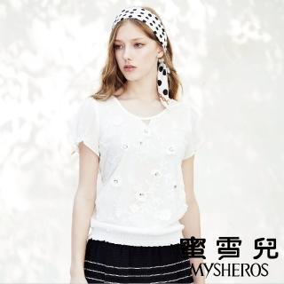 【mysheros 蜜雪兒】造型袖下擺縮緹花鑲鑽上衣(白)優惠推薦  mysheros 蜜雪兒