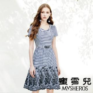【mysheros 蜜雪兒】條紋緹花腰身洋裝(藍)折扣推薦  mysheros 蜜雪兒