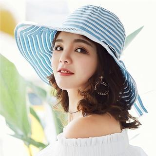 【幸福揚邑】夏日浪漫條紋大帽檐抗UV防紫外線可摺疊遮陽帽(淺藍)優惠推薦  幸福揚邑