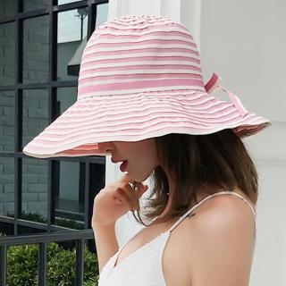【幸福揚邑】夏日浪漫條紋大帽檐抗UV防紫外線可摺疊遮陽帽(粉)優惠推薦  幸福揚邑