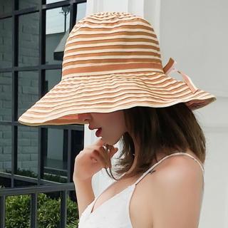 【幸福揚邑】夏日浪漫條紋大帽檐抗UV防紫外線可摺疊遮陽帽(卡其)  幸福揚邑