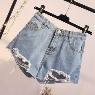 【WHATDAY】個性小心機破洞設計時尚牛仔短褲XL-5XL  WHATDAY