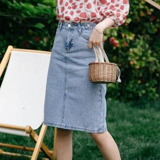 【WHATDAY】復古開衩裙襬3D立體設計修身牛仔裙S-XL折扣推薦  WHATDAY