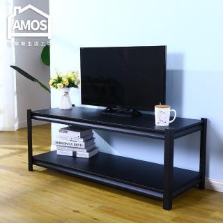 【AMOS 亞摩斯】黑金剛雙層角鋼電視櫃/客廳桌(電視櫃) 推薦  AMOS 亞摩斯