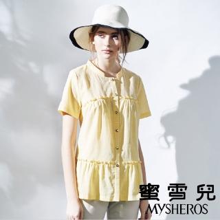 【mysheros 蜜雪兒】開襟細條紋小荷葉襯衫(黃)好評推薦  mysheros 蜜雪兒