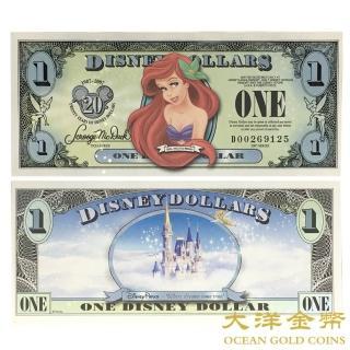 【台灣大洋金幣】迪士尼 小美人魚 1美元紀念鈔(迪士尼紀念鈔 絕版品 限量品 真鈔)好評推薦  台灣大洋金幣