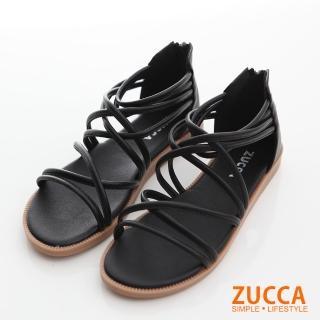 【ZUCCA&bellwink】繞繩環狀交叉平底涼鞋z6614bk-黑色  ZUCCA&bellwink